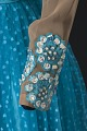 View Turquoise blue dress with nude bodice and blue details designed by Peter Davy digital asset number 4