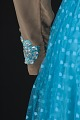 View Turquoise blue dress with nude bodice and blue details designed by Peter Davy digital asset number 5