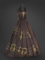 View Brown halter dress with gold music themed embellishments designed by Peter Davy digital asset number 0