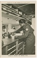 """View Picture postcard of a volunteer serving troops out of a Red Cross """"Clubmobile"""" digital asset number 0"""