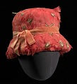 View Red feather lamp shade hat from Mae's Millinery Shop digital asset number 0
