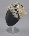 View Navy blue cloche with flowers, beads, and feathers from Mae's Millinery Shop digital asset number 1
