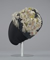 View Navy blue cloche with flowers, beads, and feathers from Mae's Millinery Shop digital asset number 3