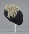 View Navy blue cloche with flowers, beads, and feathers from Mae's Millinery Shop digital asset number 5