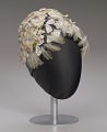 View Navy blue cloche with flowers, beads, and feathers from Mae's Millinery Shop digital asset number 0