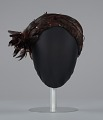 View Brown feathered pillbox hat from Mae's Millinery Shop digital asset number 2