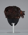View Brown feathered pillbox hat from Mae's Millinery Shop digital asset number 4