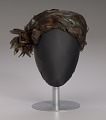 View Brown feathered pillbox hat from Mae's Millinery Shop digital asset number 0