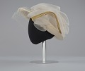 View Cream hat with white and gold embellishment from Mae's Millinery Shop digital asset number 3