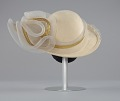 View Cream hat with white and gold embellishment from Mae's Millinery Shop digital asset number 4