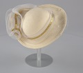 View Cream hat with white and gold embellishment from Mae's Millinery Shop digital asset number 6