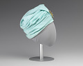 View Turqouise turban style hat with brooch from Mae's Millinery Shop digital asset number 4