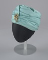 View Turqouise turban style hat with brooch from Mae's Millinery Shop digital asset number 5