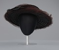 View Black raffia hat with brown and black decorations from Mae's Millinery Shop digital asset number 2