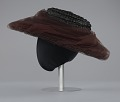 View Black raffia hat with brown and black decorations from Mae's Millinery Shop digital asset number 3