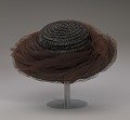 View Black raffia hat with brown and black decorations from Mae's Millinery Shop digital asset number 8