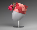 View Pink and red hat with pink rose decoration from Mae's Millinery Shop digital asset number 2