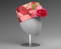 View Pink and red hat with pink rose decoration from Mae's Millinery Shop digital asset number 0
