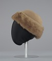 View Light brown toque hat with fur trim and a hat pin from Mae's Millinery Shop digital asset number 2