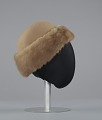 View Light brown toque hat with fur trim and a hat pin from Mae's Millinery Shop digital asset number 4