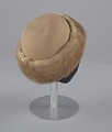 View Light brown toque hat with fur trim and a hat pin from Mae's Millinery Shop digital asset number 5