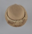 View Light brown toque hat with fur trim and a hat pin from Mae's Millinery Shop digital asset number 6