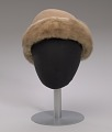 View Light brown toque hat with fur trim and a hat pin from Mae's Millinery Shop digital asset number 7
