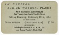 View Promotional card for a piano recital given by Eunice Waymon (Nina Simone) digital asset number 0