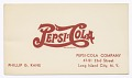 View Business card for Pepsi-Cola employee Philip G. Kane digital asset number 0