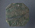 View Charleston slave badge from 1847 for Porter No. 365 digital asset number 1