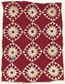 View Red and white pieced and appliqued star quilt digital asset number 0