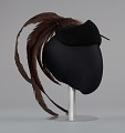 View Black cap with long brown feather plume from Mae's Millinery Shop digital asset number 4