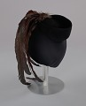 View Black cap with long brown feather plume from Mae's Millinery Shop digital asset number 5