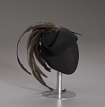 View Black cap with long brown feather plume from Mae's Millinery Shop digital asset number 8