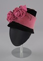View Black and pink beehive hat with pink flowers from Mae's Millinery Shop digital asset number 0