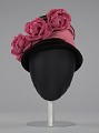 View Black and pink beehive hat with pink flowers from Mae's Millinery Shop digital asset number 1