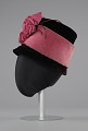 View Black and pink beehive hat with pink flowers from Mae's Millinery Shop digital asset number 2