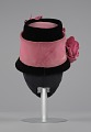 View Black and pink beehive hat with pink flowers from Mae's Millinery Shop digital asset number 3