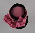 View Black and pink beehive hat with pink flowers from Mae's Millinery Shop digital asset number 6