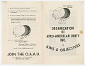 View <I>Organization of Afro-American Unity Inc. Aims and Objectives</I> digital asset number 0