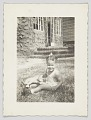 View Photographic print of an unidentified girl sitting on a lawn digital asset number 0
