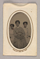 View Tintype in a paper case of three unidentified young women seated digital asset number 0