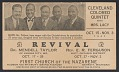 View Advertisement card for a revival featuring the Cleveland Colored Quintet digital asset number 2