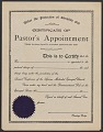 View Blank certificate of pastor's appointment for the A.M.E. Church digital asset number 0