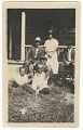View Photographic print of of 3 men, 2 boys and 1 woman posing on a porch digital asset number 0
