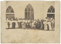 View Photographic print of men and women in front of Vernon AME Church, Tulsa digital asset number 0