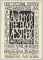 "View Broadside for the lecture ""Anatomy of the Black Aesthetic; An Examination"" digital asset number 0"