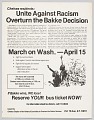 View Flier Advertising March on Washington Against the Bakke Decision digital asset number 0