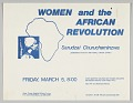 "View Flyer advertising ""Women and the African Revolution"" program digital asset number 0"