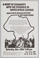 View Flyer announcing a night of solidarity with South African liberation digital asset number 0